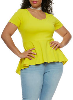 Plus Size Textured Knit Peplum Top with Lace Choker - 1912072240078