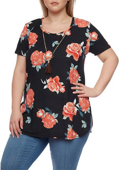 Plus Size Floral Tee with High Low Hem and Necklace - 1912072240312
