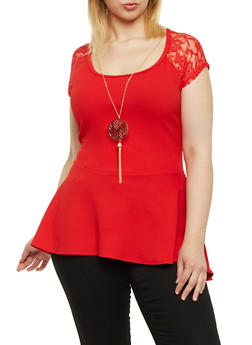 Plus Size Peplum Top with Lace Yoke - RED - 1912072240413