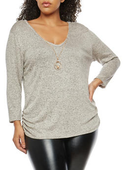 Plus Size Marled V Neck Top with Necklace - 1912072240668