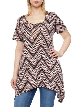 Plus Size Chevron Printed Tunic Top with Necklace - 1912072241188