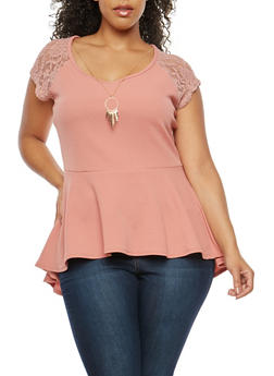 Plus Size Peplum Top with Necklace and Lace - 1912072241304