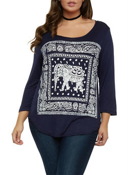 Plus Size Top with Elephant Graphic - 1912072242346