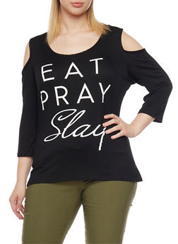 Plus Size Cold Shoulder Top with Eat Pray Slay Graphic - BLACK - 1912072242382