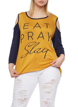 Plus Size Cold Shoulder Top with Eat Pray Slay Graphic - MUSTARD - 1912072242382