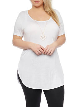 Plus Size Short Sleeve Tunic Top with Necklace - 1912072242451