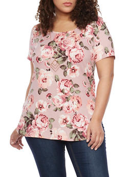Plus Size Soft Knit Floral T Shirt with Necklace - 1912072244052