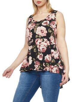Plus Size High Low Floral Peplum Top with Necklace - BLACK - 1912072244542