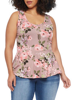 Plus Size High Low Floral Peplum Top with Necklace - MAUVE - 1912072244542