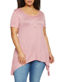 Plus Size Tunic Top with Shark Bite Hem and Necklace - 1912072245305