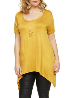 Plus Size Tunic Top with Shark Bite Hem and Necklace - MUSTARD - 1912072245305
