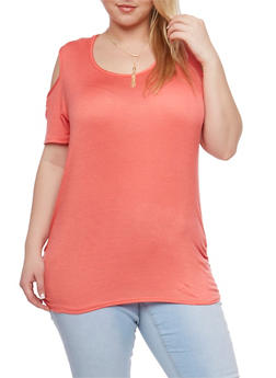 Plus Size Solid Cold Shoulder Top with Necklace - 1912072245653