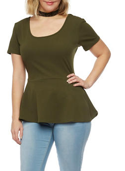 Plus Size Peplum Top with Choker Necklace - 1912072245718