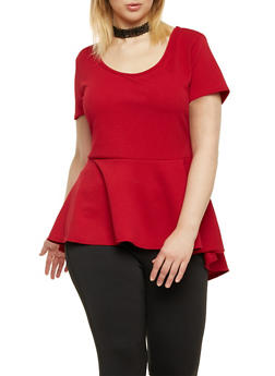 Plus Size Peplum Top with Choker Necklace - BURGUNDY - 1912072245718