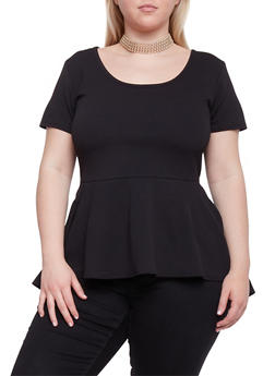 Plus Size High Low Peplum Top with Choker Necklace - BLACK - 1912072245719