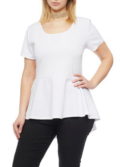 Plus Size High Low Peplum Top with Choker Necklace - WHITE - 1912072245719