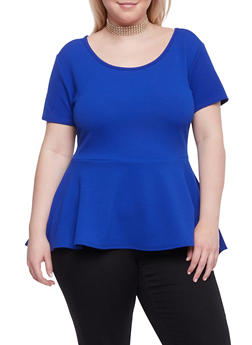 Plus Size High Low Peplum Top with Choker Necklace - RYL BLUE - 1912072245719