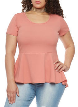 Plus Size High Low Peplum Top with Choker Necklace - MAUVE - 1912072245719
