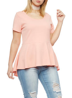 Plus Size High Low Peplum Top with Lace Choker - 1912072245720