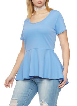 Plus Size High Low Peplum Top with Lace Choker - BLUE DENIM - 1912072245720