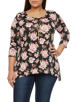 Plus Size Floral Print Top with Sharkbite Hem and Necklace - 1912072245745