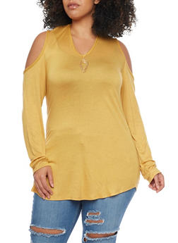 Plus Size Cold Shoulder Keyhole Cutout Top - MUSTARD - 1912072245821