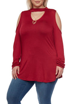 Plus Size Cold Shoulder Keyhole Cutout Top - 1912072245821