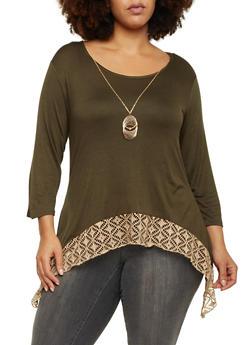 Plus Size Asymmetrical Top with Crochet Hem - OLIVE - 1912072245840