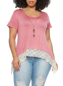 Plus Size Asymmetrical Top with Crochet Hem - 1912072245840