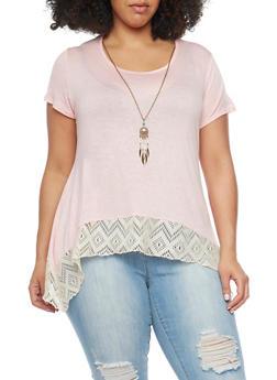 Plus Size Asymmetrical Top with Crochet Hem - 1912072245840