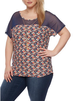 Plus Size Floral Print Top with Mesh Panel and Necklace - 1912072245879