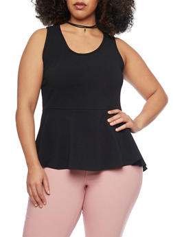 Plus Size High Low Peplum Top with Faux Suede Choker Necklace - BLACK - 1912072245955