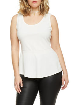 Plus Size High Low Peplum Top with Faux Suede Choker Necklace - WHITE - 1912072245955