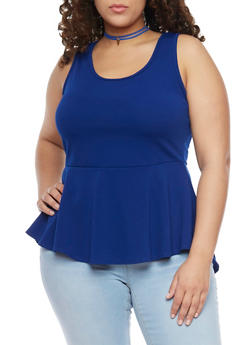 Plus Size High Low Peplum Top with Faux Suede Choker Necklace - ROYAL - 1912072245955