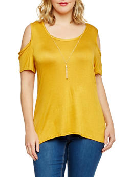 Plus Size Scoop Neck Cold Shoulder Top with Necklace - 1912072246002