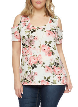 Plus Size Floral Cold Shoulder Top with Tassel Necklace - IVORY - 1912072246040