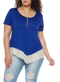 Plus Size Top with Crochet Hem and Necklace - 1912072246145