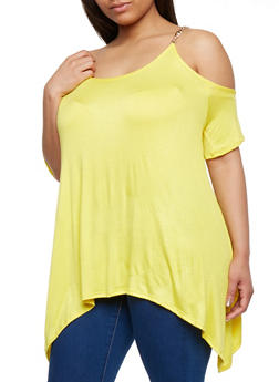 Plus Size Cold Shoulder Tunic Top with Chain Link Straps - 1912072246157