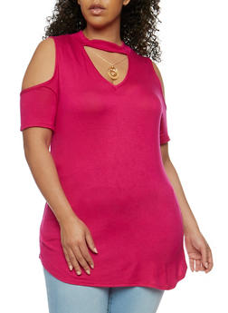Plus Size Choker Neck Cold Shoulder Top with Necklace - 1912072246184
