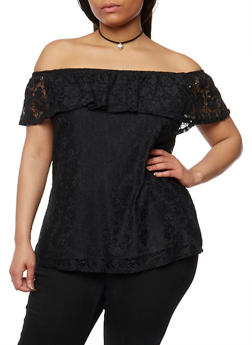 Plus Size Off the Shoulder Lace Peasant Top with Necklace - 1912072246192
