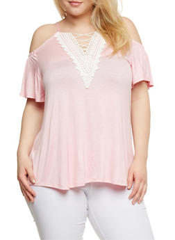 Plus Size Caged V Neck Cold Shoulder Top with Crochet Trim - 1912072246266