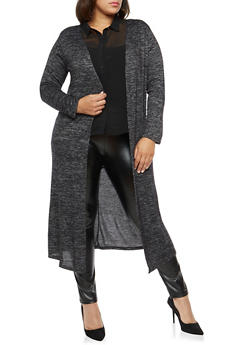 Plus Size Black Marled Duster - 1912072246549