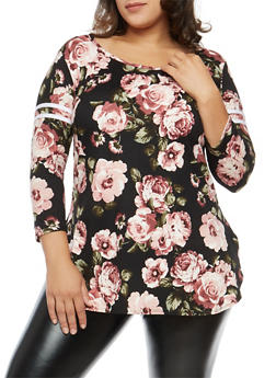Plus Size Rose Print Stripe Sleeve Top - BLACK-WHITE - 1912072246606