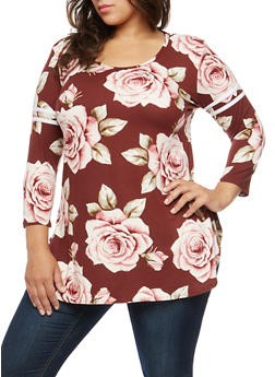Plus Size Rose Print Stripe Sleeve Top - 1912072246606