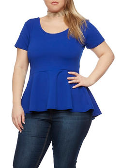 Plus Size Peplum Top with Choker Necklace - 1912072247181