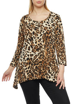 Plus Size Leopard Print Scoop Neck Top with Necklace - 1912072247453