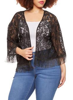 Plus Size Open Front Lace Cardigan with Fringe Hem - 1912072891136