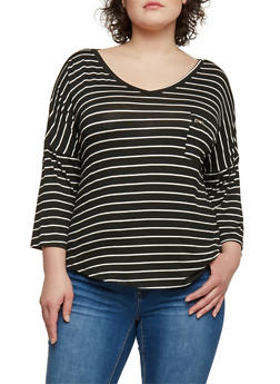 Plus Size 3/4 Sleeve Striped Top with Zip Pocket - 1912072891708