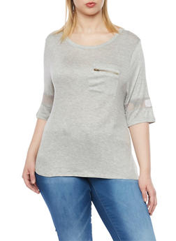 Plus Size 3/4 Sleeve Top with Mesh Trim - 1912072897035