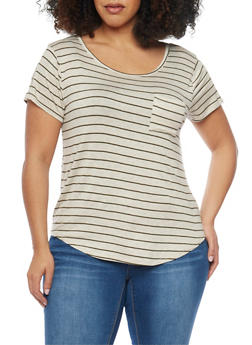 Plus Size Striped Shirttail Top with Zip Sleeves - 1912072897244